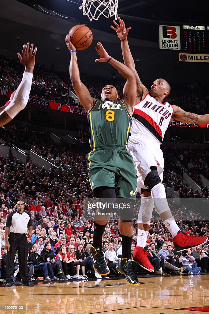 Randy Foye #8 of the Utah Jazz goes to the basket during the game between the Utah Jazz and the Portland Trail Blazers on February 2, 2013 at the Rose Garden Arena in Portland, Oregon.