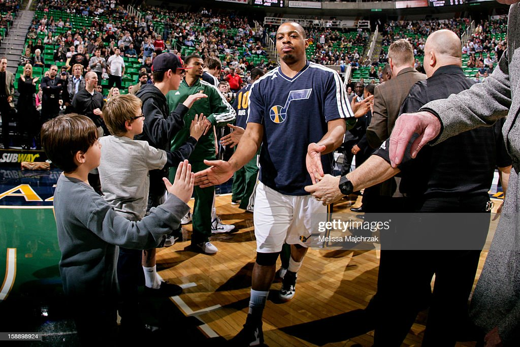 Randy Foye #8 of the Utah Jazz greets fans before playing against the Minnesota Timberwolves at Energy Solutions Arena on January 2, 2013 in Salt Lake City, Utah.
