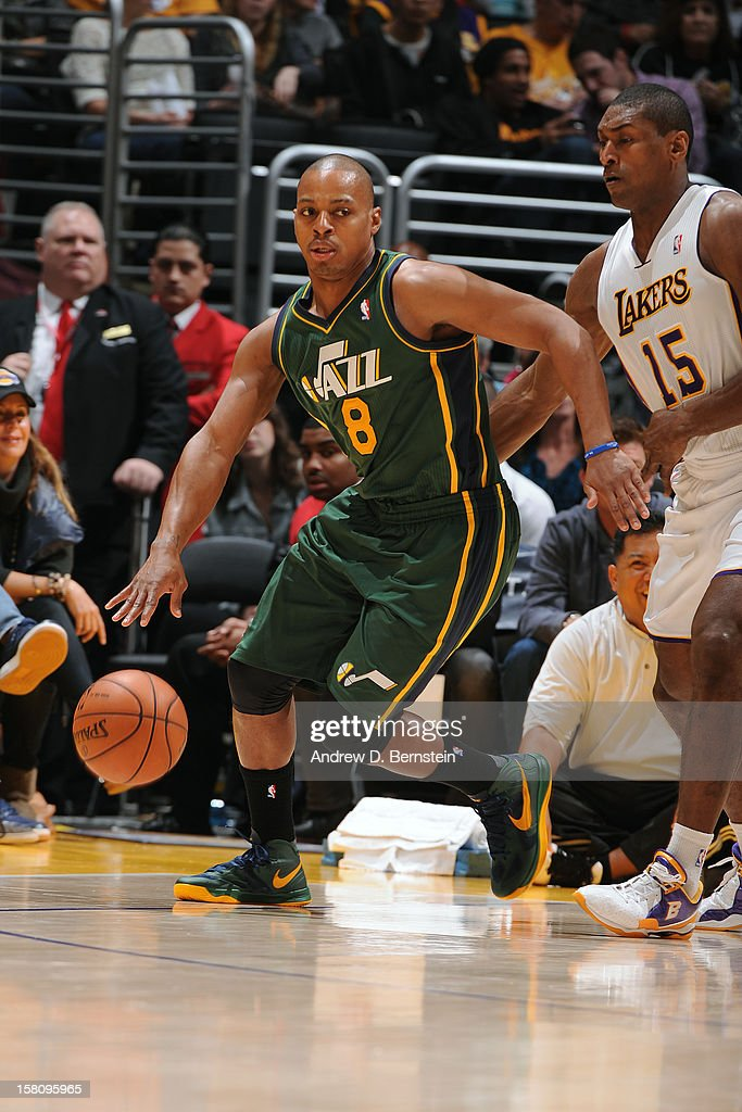 <a gi-track='captionPersonalityLinkClicked' href=/galleries/search?phrase=Randy+Foye&family=editorial&specificpeople=240185 ng-click='$event.stopPropagation()'>Randy Foye</a> #8 of the Utah Jazz handles the ball against Metta World Peace #15 of the Los Angeles Lakers at Staples Center on December 9, 2012 in Los Angeles, California.