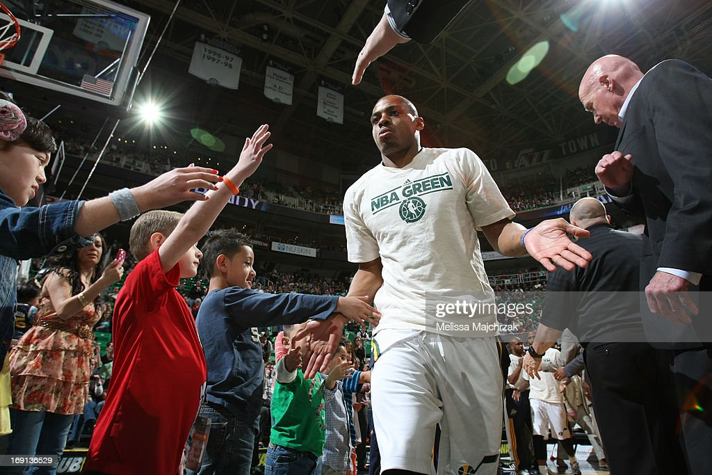 <a gi-track='captionPersonalityLinkClicked' href=/galleries/search?phrase=Randy+Foye&family=editorial&specificpeople=240185 ng-click='$event.stopPropagation()'>Randy Foye</a> #8 of the Utah Jazz is introduced before the game against the Minnesota Timberwolves at Energy Solutions Arena on April 12, 2013 in Salt Lake City, Utah.