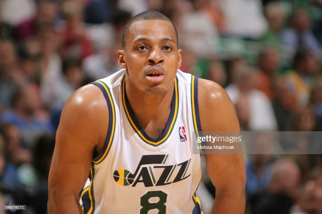 <a gi-track='captionPersonalityLinkClicked' href=/galleries/search?phrase=Randy+Foye&family=editorial&specificpeople=240185 ng-click='$event.stopPropagation()'>Randy Foye</a> #8 of the Utah Jazz looks on against the Denver Nuggets at Energy Solutions Arena on April 3, 2013 in Salt Lake City, Utah.