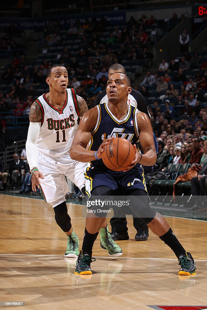 <a gi-track='captionPersonalityLinkClicked' href=/galleries/search?phrase=Randy+Foye&family=editorial&specificpeople=240185 ng-click='$event.stopPropagation()'>Randy Foye</a> #8 of the Utah Jazz looks to shoot the ball against the Milwaukee Bucks on March 4, 2013 at the BMO Harris Bradley Center in Milwaukee, Wisconsin.