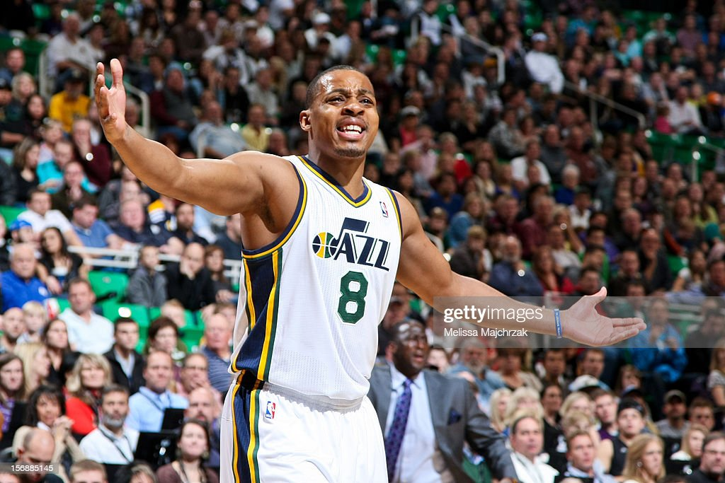<a gi-track='captionPersonalityLinkClicked' href=/galleries/search?phrase=Randy+Foye&family=editorial&specificpeople=240185 ng-click='$event.stopPropagation()'>Randy Foye</a> #8 of the Utah Jazz reacts during a game against the Sacramento Kings at Energy Solutions Arena on November 23, 2012 in Salt Lake City, Utah.