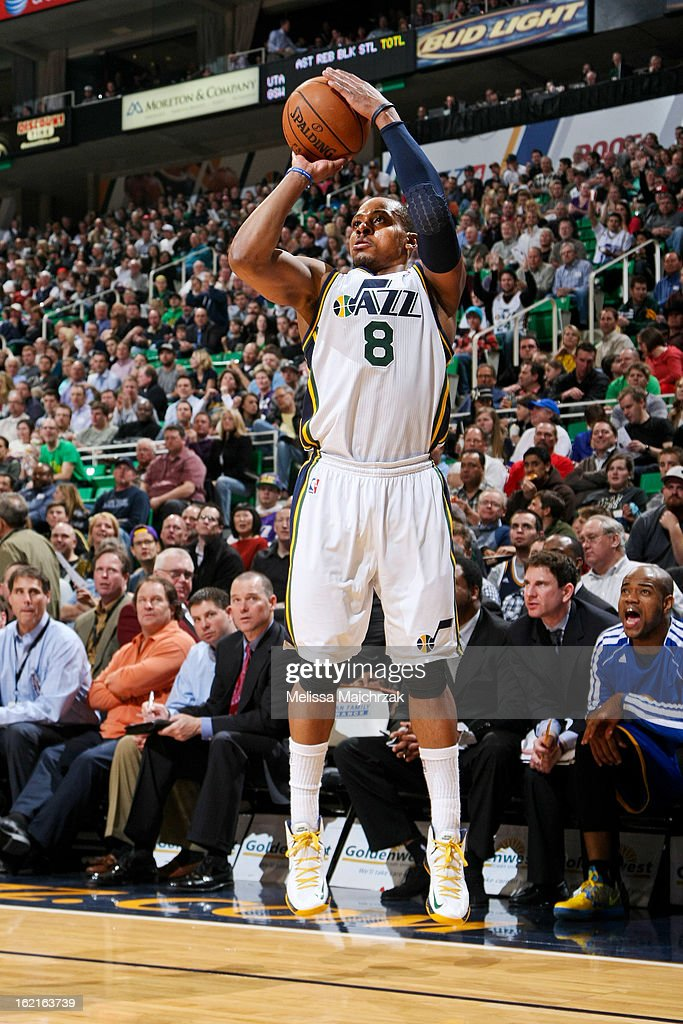 <a gi-track='captionPersonalityLinkClicked' href=/galleries/search?phrase=Randy+Foye&family=editorial&specificpeople=240185 ng-click='$event.stopPropagation()'>Randy Foye</a> #8 of the Utah Jazz shoots a three-pointer against the Golden State Warriors at Energy Solutions Arena on February 19, 2013 in Salt Lake City, Utah.
