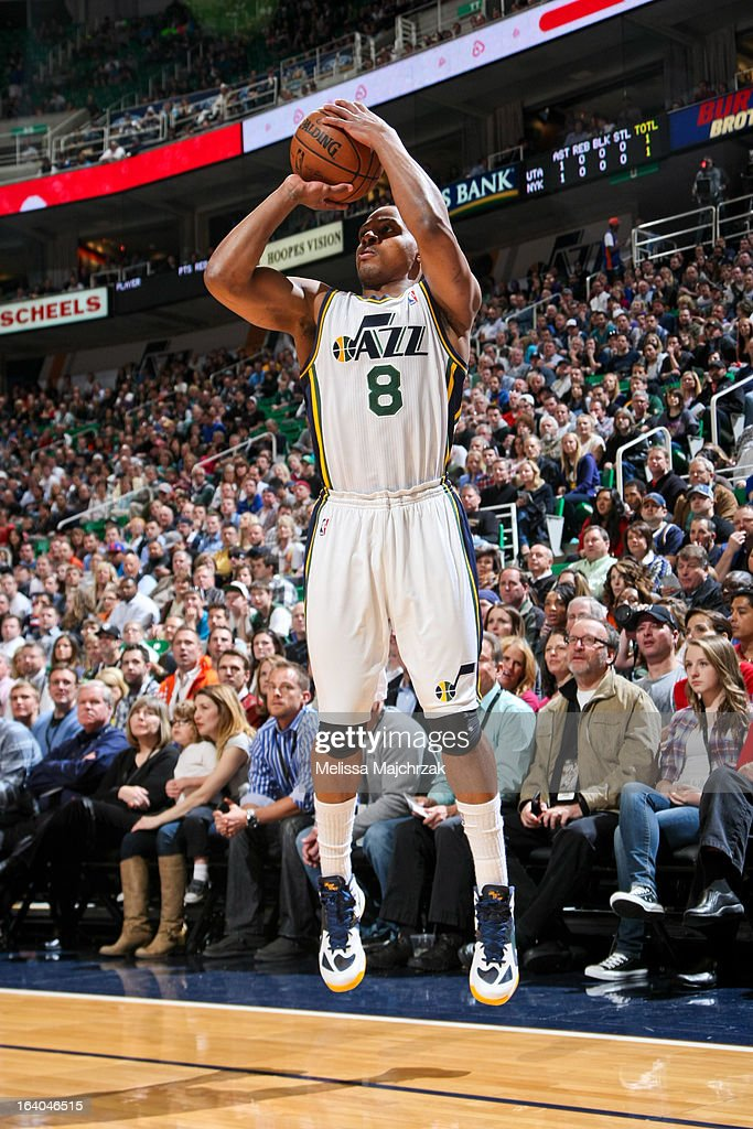 <a gi-track='captionPersonalityLinkClicked' href=/galleries/search?phrase=Randy+Foye&family=editorial&specificpeople=240185 ng-click='$event.stopPropagation()'>Randy Foye</a> #8 of the Utah Jazz shoots a three-pointer against the New York Knicks at Energy Solutions Arena on March 18, 2013 in Salt Lake City, Utah.