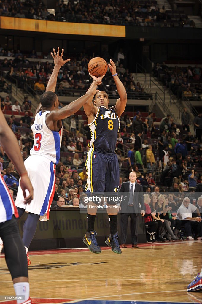 <a gi-track='captionPersonalityLinkClicked' href=/galleries/search?phrase=Randy+Foye&family=editorial&specificpeople=240185 ng-click='$event.stopPropagation()'>Randy Foye</a> #8 of the Utah Jazz shoots against <a gi-track='captionPersonalityLinkClicked' href=/galleries/search?phrase=Rodney+Stuckey&family=editorial&specificpeople=4375687 ng-click='$event.stopPropagation()'>Rodney Stuckey</a> #3 of the Detroit Pistons on January 12, 2013 at The Palace of Auburn Hills in Auburn Hills, Michigan.