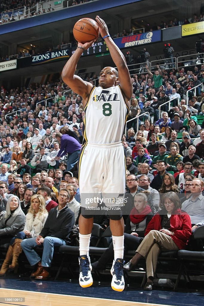 Randy Foye #8 of the Utah Jazz shoots against the Miami Heat at Energy Solutions Arena on January 14, 2013 in Salt Lake City, Utah.