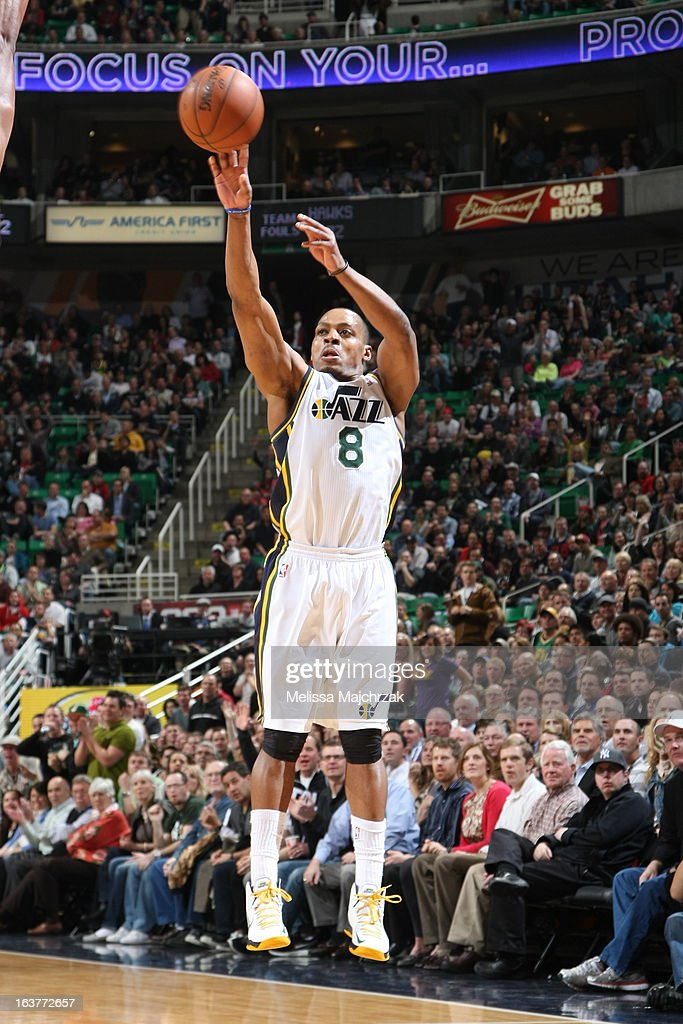 Randy Foye #8 of the Utah Jazz takes a shot against the Atlanta Hawks at Energy Solutions Arena on February 27, 2013 in Salt Lake City, Utah.