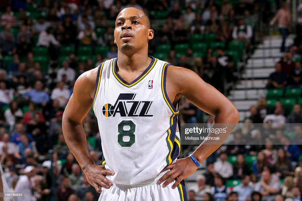 Randy Foye #8 of the Utah Jazz waits to resume action against the Houston Rockets at Energy Solutions Arena on November 19, 2012 in Salt Lake City, Utah.