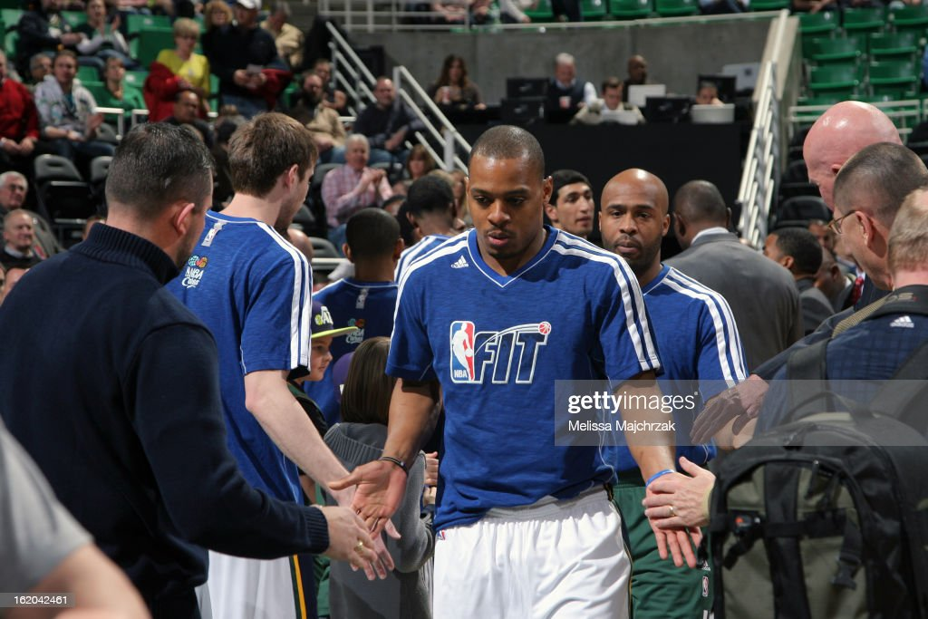<a gi-track='captionPersonalityLinkClicked' href=/galleries/search?phrase=Randy+Foye&family=editorial&specificpeople=240185 ng-click='$event.stopPropagation()'>Randy Foye</a> #8 of the Utah Jazz walks out before the game against the Washington Wizards at Energy Solutions Arena on January 23, 2013 in Salt Lake City, Utah.