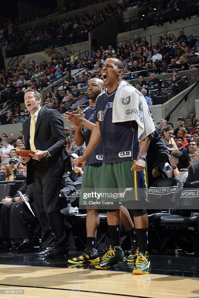 <a gi-track='captionPersonalityLinkClicked' href=/galleries/search?phrase=Randy+Foye&family=editorial&specificpeople=240185 ng-click='$event.stopPropagation()'>Randy Foye</a> #8 of the Utah Jazz yells from the bench during the game against the San Antonio Spurs on March 22, 2013 at the AT&T Center in San Antonio, Texas.
