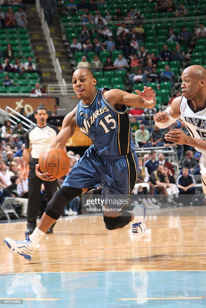 Randy Foye #15 of the Washington Wizards drives to the basket against Sundiata Gaines #15 of the Utah Jazz at EnergySolutions Arena on March 15, 2010 in Salt Lake City, Utah.