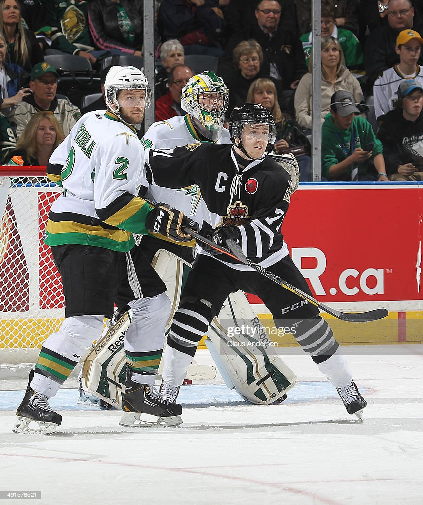 Randy Gazzola #2 of the Val'Dor Foreurs skates Chris Tierney #71 of the London Knights in Game One of the 2014 Mastercard Memorial Cup at the Budweiser Gardens on May 16, 2014 in London, Ontario, Canada. The Foreurs defeated the Knights 1-0.