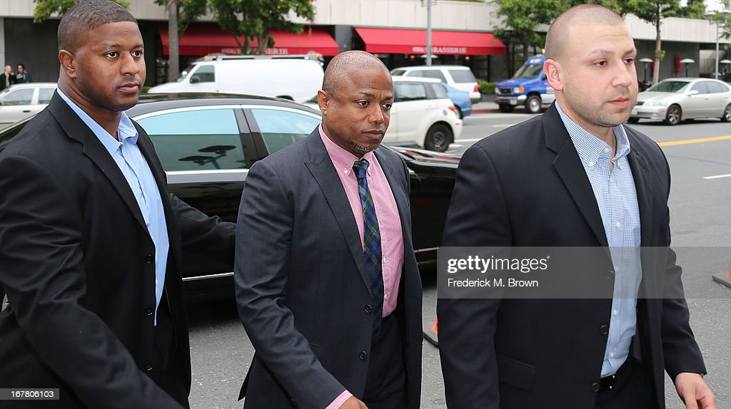 Randy Jackson (C) and body guards arrive for the Jackson vs AEG Court Case at the Los Angeles Superior court on April 30, 2013 in Los Angeles, California. The Jackson family has filed a wrongful death suit against AEG Live for the death of Michael Jackson.