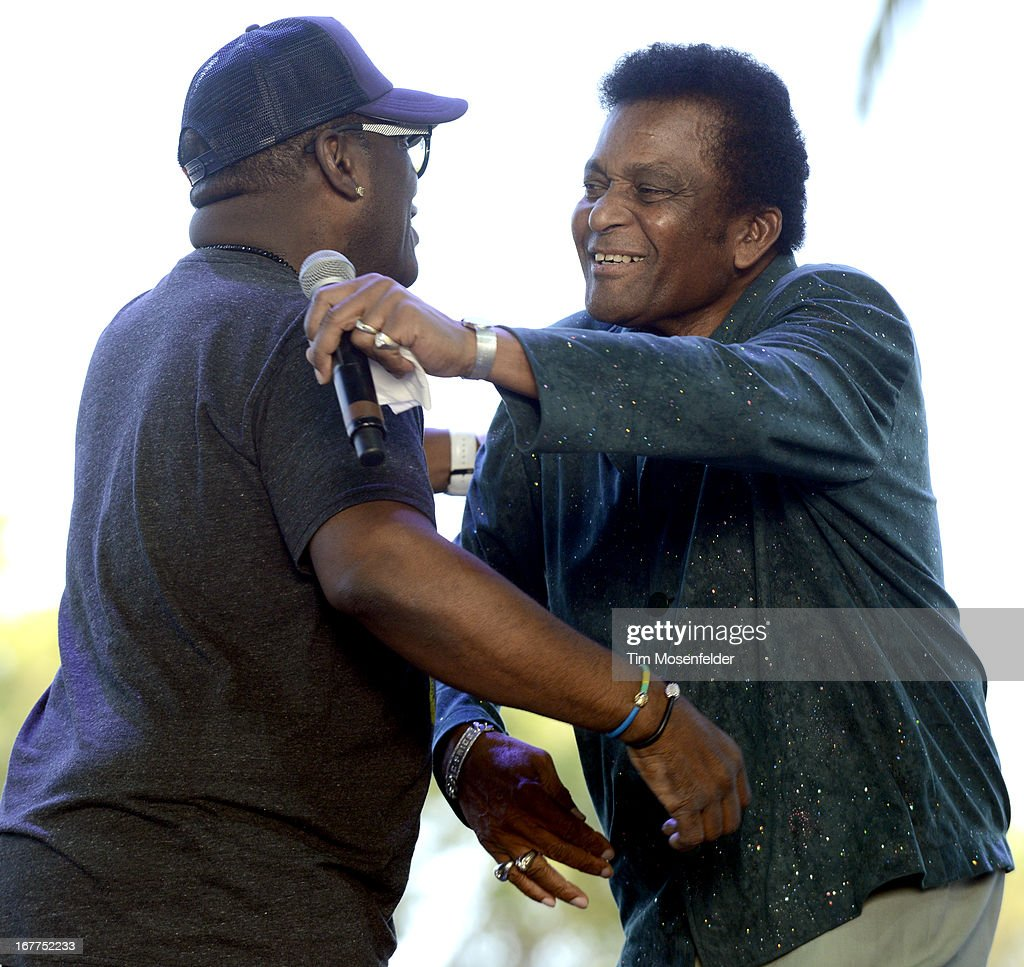 Randy Jackson (L) and Charlie Pride perform at the Stagecoach Music Festival at the Empire Polo Grounds on April 28, 2013 in Indio, California.