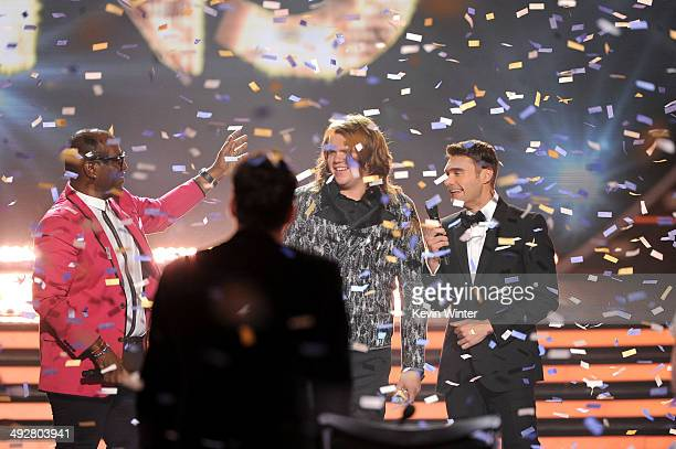 Randy Jackson and Host Ryan Seacrest announces Caleb Johnson as the winner onstage during Fox's 'American Idol' XIII Finale at Nokia Theatre LA Live...