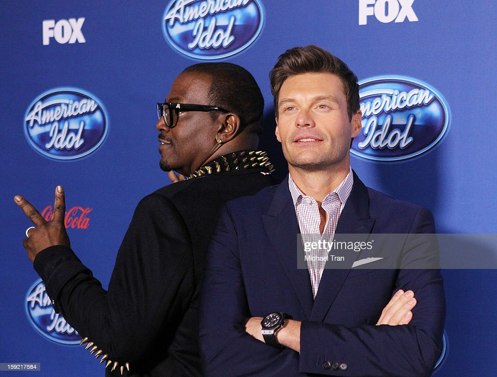 Randy Jackson (L) and <a gi-track='captionPersonalityLinkClicked' href=/galleries/search?phrase=Ryan+Seacrest&family=editorial&specificpeople=201694 ng-click='$event.stopPropagation()'>Ryan Seacrest</a> arrive at American Idol Season 12 premiere event held at Royce Hall UCLA on January 9, 2013 in Westwood, California.