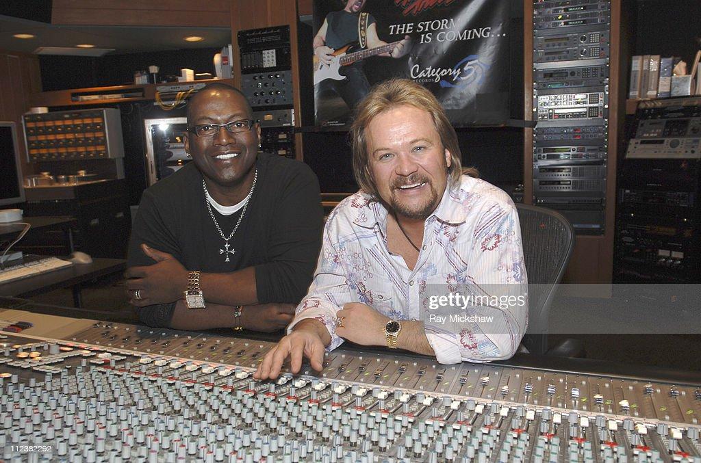 Randy Jackson and Travis Tritt during Randy Jackson and Travis Tritt Studio Session April 6 2006 at AM Studios in Los Angeles California United States