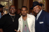 Randy Jackson Kanye West and Jimmy Jam during National GRAMMY Career Day Los Angeles at USC in Los Angeles California United States