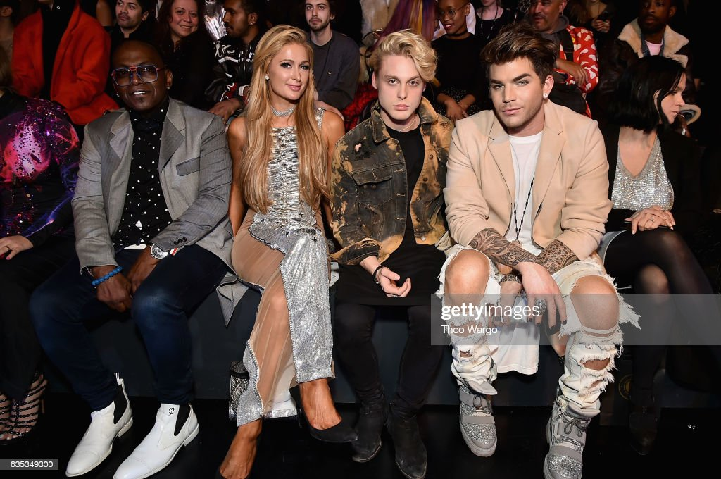 Randy Jackson, Paris Hilton, guest and Adam Lambert attend the The Blonds collection during, New York Fashion Week: The Shows at Gallery 1, Skylight Clarkson Sq on February 14, 2017 in New York City.