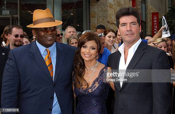 Randy Jackson Paula Abdul Simon Cowell during 'American Idol' Season 1 Finale Results Show Arrivals at Kodak Theater in Hollywood California United...