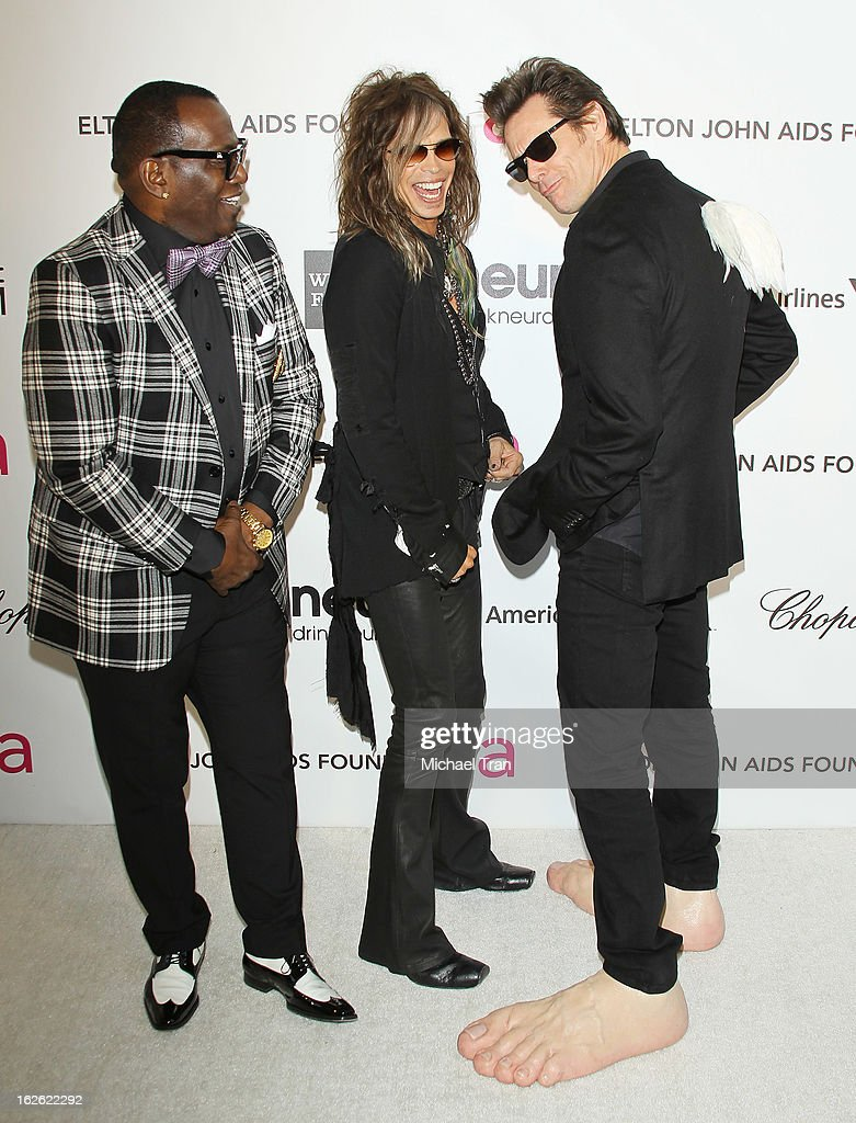 Randy Jackson, Steven Tyler and Jim Carrey arrive at the 21st Annual Elton John AIDS Foundation Academy Awards viewing party held at West Hollywood Park on February 24, 2013 in West Hollywood, California.