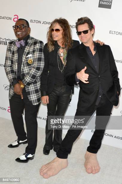 Randy Jackson Steven Tyler and Jim Carrey arriving for 2013 Elton John AIDS Foundation Oscar Party held at West Hollywood Park in West Hollywood Los...