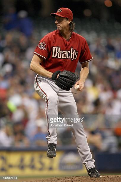 Randy Johnson of the Arizona Diamondbacks delivers a pitch against the Milwaukee Brewers on June 3 2008 at Miller Park in Milwaukee Wisconsin The...