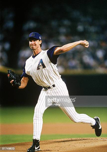 Randy Johnson of the Arizona Diamondbacks delivers a pitch during Game Six of the 2001 World Series against the New York Yankees at Bank One Ballpark...