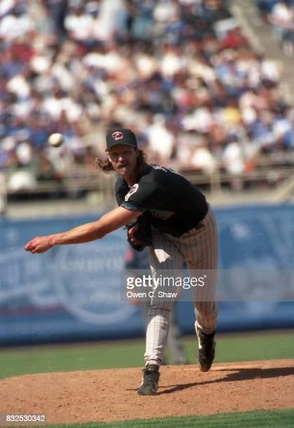 Randy Johnson of the Arizona Diamondbacks pitches against the Los Angeles Dodgers at Dodger Stadium circa 1999 in Los Angeles California