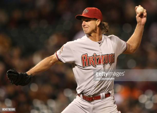 Randy Johnson of the Arizona Diamondbacks pitches against the San Francisco Giants during a Major League Baseball game on March 14 2008 at ATT Park...