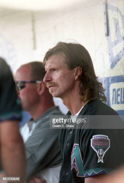 Randy Johnson of the Arizona Diamondbacks rests between innings in a game against the Los Angeles Dodgers at Dodger Stadium circa 1999 in Los Angeles...