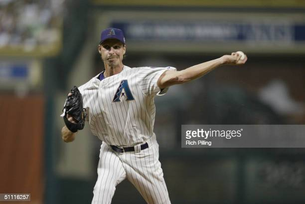 Randy Johnson of the Arizona Diamondbacks throws a pitch during the 2004 AllStar Game at Minute Maid Field on July 13 2004 in Houston Texas The...