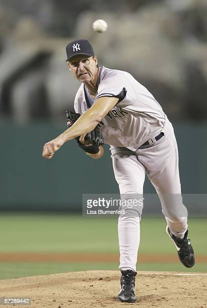 Randy Johnson of the New York Yankees pitches against the Los Angeles Angels of Anaheimon April 8 2006 at Angel Stadium in Anaheim California
