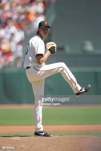 Randy Johnson of the San Francisco Giants pitches during the game against the Arizona Diamondbacks at ATT Park in San Francisco California on Sunday...