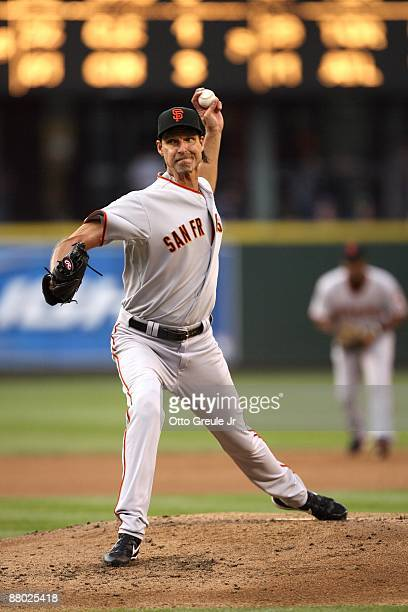 Randy Johnson of the San Francisco Giants pitches during the game against the Seattle Mariners on May 22 2009 in Seattle Washington The Mariners...