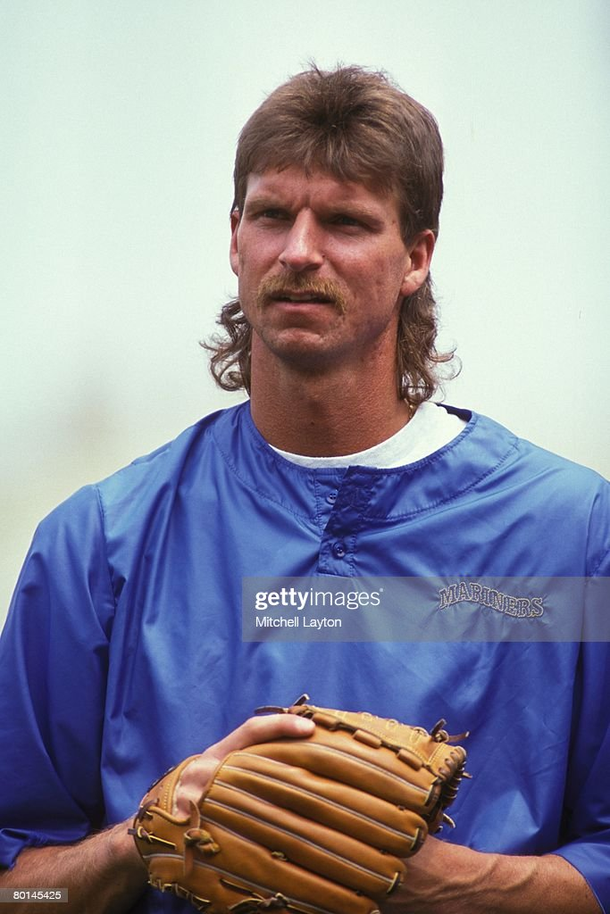 Randy Johnson #51 of the Seattle Mariners looks on before a baseball game against the Baltimore Orioles on July 1, 1991 at Memorail Stadium in Baltimore, Maryland.