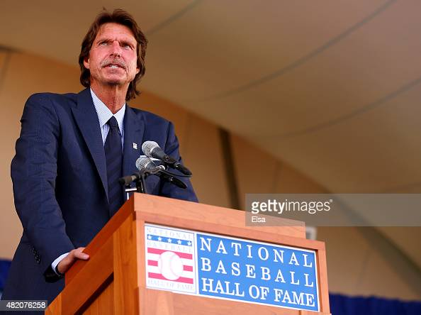 Randy Johnson speaks during the Hall of Fame Induction Ceremony at National Baseball Hall of Fame on July 26 2015 in Cooperstown New YorkJohnson was...