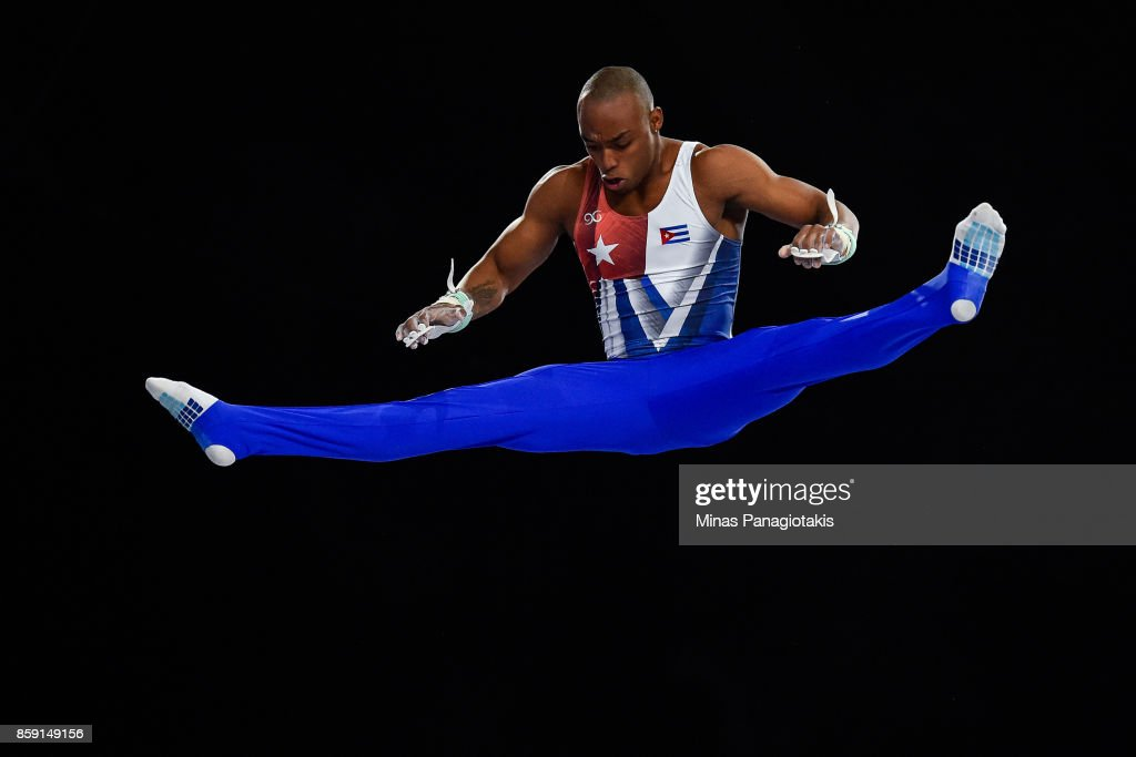 Randy Leru of Cuba competes on the horizontal bar during the individual apparatus finals of the Artistic Gymnastics World Championships on October 8, 2017 at Olympic Stadium in Montreal, Canada.