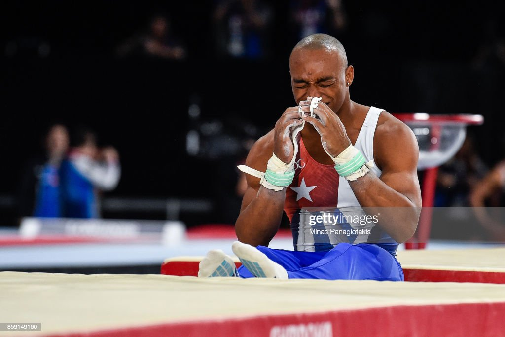 Randy Leru of Cuba reacts after falling from the horizontal bar apparatus during the individual apparatus finals of the Artistic Gymnastics World Championships on October 8, 2017 at Olympic Stadium in Montreal, Canada.