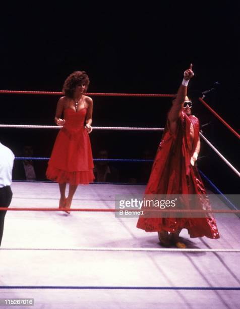 Randy 'Macho Man' Savage enters the ring with Miss Elizabeth before a WWF match against Sika circa 1987 at the Madison Square Garden in New York New...