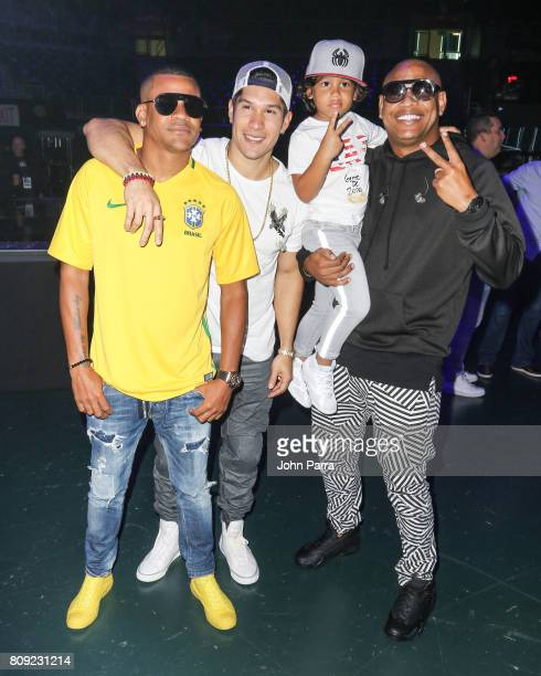 Randy Malcolm Chyno Miranda Alexander Delgado backstage during Univision's 'Premios Juventud' 2017 Celebrates The Hottest Musical Artists And Young...