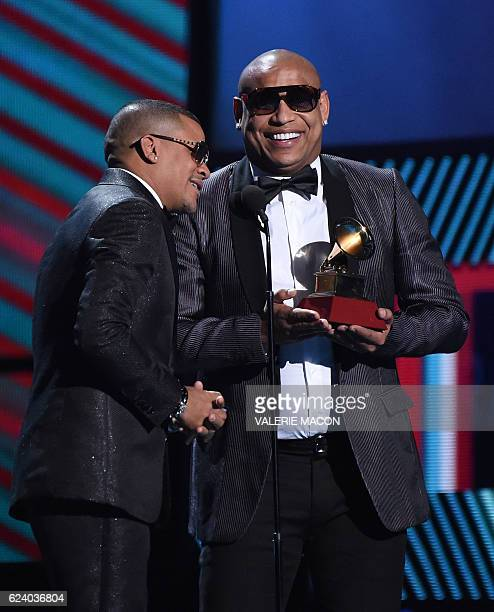 Randy Malcom Martinez and Alexander Delgado of Gente de Zona accept the award for Best Tropical Fusion Album during the show of the 17th Annual Latin...