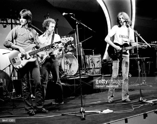 Randy Meisner Bernie Leadon and Glenn Frey of The Eagles perform on Popgala TV concert on March 10th 1963 in Voorburg Netherlands