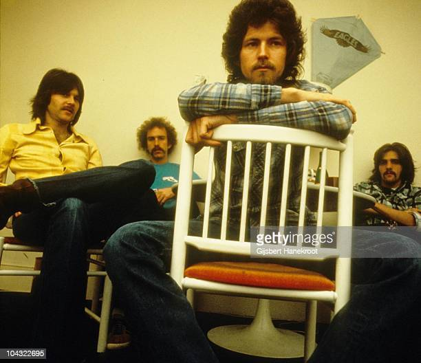 Randy Meisner Bernie Leadon Don Henley and Glenn Frey of The Eagles pose for a group portrait in London in 1973
