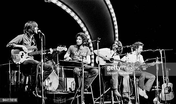Randy Meisner Don Henley Glenn Frey and Bernie Leadon of The Eagles perform on Popgala TV concert on March 10th 1963 in Voorburg Netherlands