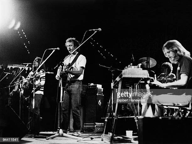 Randy Meisner Glenn Frey Bernie Leadon and Don Felder of The Eagles perform on stage c 1974 in United States