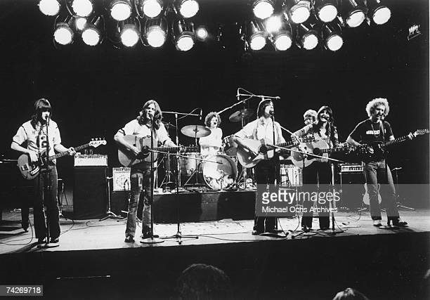 Randy Meisner Glenn Frey Don Henley Jackson Browne Don Felder Linda Ronstadt and Bernie Leadon perform with the rock band 'Eagles' perform in circa...