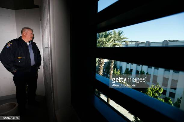 HILLS CALIF TUESDAY JANUARY 17 2017 Randy Neitzke Beverly Hills Police jail supervisor looks out the window of the women's pay to stay jail cell dorm...