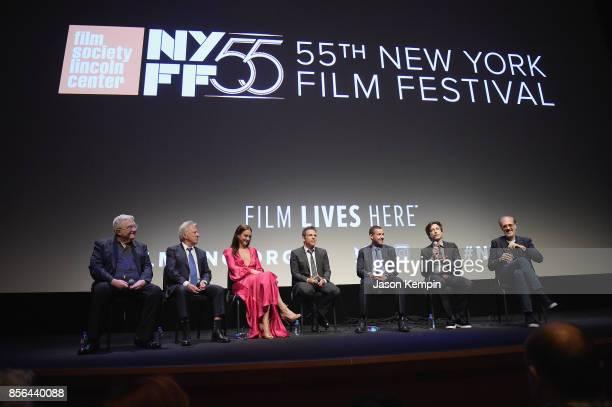 Randy Newman Dustin Hoffman Grace Van Patten Ben Stiller Adam Sandler Noah Baumbach and Kent Jones speak onstage during the New York Film Festival...